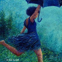 Maravillosas pinturas en oleo con los dedos por Iris Scott.