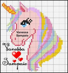 Pastel unicorn w flowing mane Cross Stitch Charts, Cross Stitch Designs, Cross Stitch Patterns, Unicorn Cross Stitch Pattern, Unicorn Pattern, Knitting Charts, Baby Knitting Patterns, Cross Stitching, Cross Stitch Embroidery