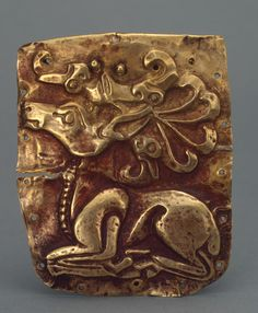 Overlay for a Wooden Vessel. Place: Russia (now Ukraine). Epoch. Period: Early Iron Age. Date: Scythian Culture. First half of the 5th century BC. Place of finding: Barrow near Ak-Mechet Bay. Archaeological site: Crimea, near Chernomorsk. Material: gold. Technique: stamped.