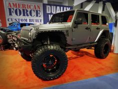 Lifted #Jeep with tough looking wheels and tires
