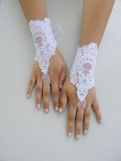 Free Ship Bridal Glove white lace gloves Fingerless by WEDDINGHome, $25.00