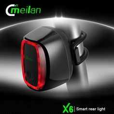 Meilan X6 Smart Switch Power Auto On/Off Rear/Tail Light  Color: black, blue, red, green  Shell: UV smooth like mirror surface   LED: Taiwan Everlight  Battery: 900 Mah rechargeable  Features: 36 hours lighting            7 models streamlined light            Day/night detection,auto on/off            Cycling detection,auto on/off            Waterproof, IPX6