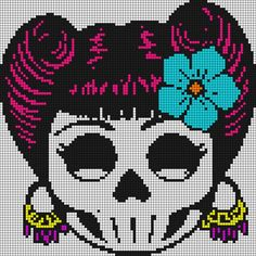 Sugar skull pattern / chart for cross stitch, crochet, knitting, knotting, beading, weaving, pixel art, and other crafting projects