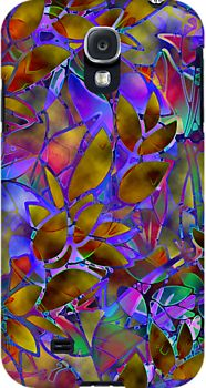 Samsung Galaxy S4 Case Floral Abstract Stained Glass. <3