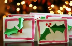 Holly Card Christmas Craft for kids @MakeandTakes.com.com.com.com