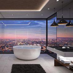 Um sonho de banheiro! Que vista deslumbrante!