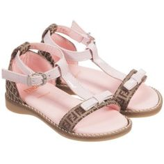 Fendi - Girls Pink & Beige 'FF' Logo Sandals | Childrensalon