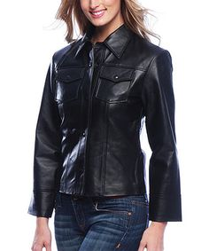 Love this Black Easy Leather Jacket by Tanners Avenue on #zulily $69 made from soft and durable Nappa leather with a snap placket and patch pockets