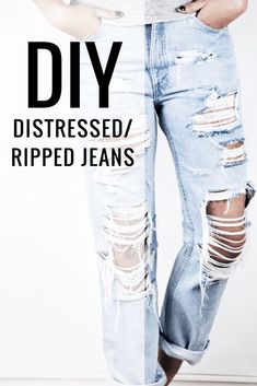 DIY Distressed Jeans by Sutton + Grove A DIY Tutorial. Join me and learn how to do your very own pair of DIY distressed jeans. It's not too hard it just takes a little patience! Diy Jeans, Löchrige Jeans, Holey Jeans, Ripped Jeggings, Ripped Skinny Jeans, Diy Ripped Jeans Tutorial, How To Ripped Jeans, Diy Clothes Jeans, Destroyed Jeans