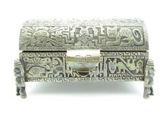 Vintag Sterling Silver Peruvian Ornate Tribal Mayan Aztec Solid .925 Jewelry Box