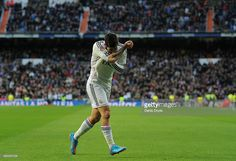 Isco of Real Madrid celebrates after scoring Real's opening goal during the La Liga match between Real Madrid CF and RC Deportivo La Coruna at Estadio Santiago Bernabeu on February 15, 2015 in Madrid, Spain.