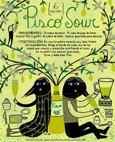 Rich Little Things Illustrated von Pati Aguilera Pisco Sour Cl Summer Drinks, Cocktail Drinks, Fun Drinks, Cocktail Recipes, Pisco Sour Receta, Rich Little, Chilean Recipes, Chilean Food, Viajes
