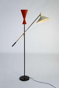 Exquisite '50s double arm floor lamp