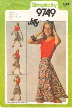 Size Medium Size 14 Size 16 Waist 28 Waist 30; Simplicity 9749 Jiffy Vintage 1980's Sewing Pattern; Misses JIffy Front Wrap Skirt by RoxyPoindexter