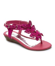 Look at this #zulilyfind! Ameta Fuchsia Butterfly Glitter Sandal by Ameta #zulilyfinds