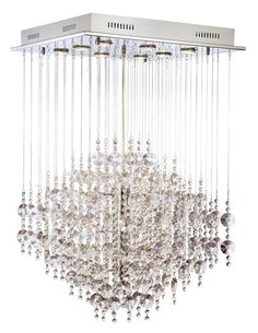 Chrome with Crystal Cloud Suspension Halogen Chandelier - EuroStyleLighting.com