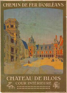 chemins de fer d'orléans - château de Blois - cour intérieure - illustration de Constant Duval -  France -