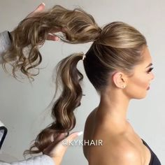 VIDEO Trick to Create Longer Ponytail  Repost by @kykhair  ______________________________  Styling Tool @h2dhaircare  Model @taylorevans_  Makeupartist @beauty_byjulie  ______________________________