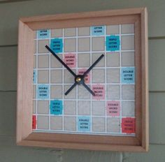 upcycled game boards   Clock Scrabble Board and Racks Upcycled Game