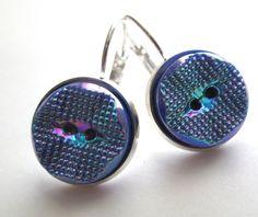 Iridescent blue glass buttons