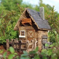 Garden Shed 3 piece set Fairy Garden Miniature House (detached fence & hinged doors)