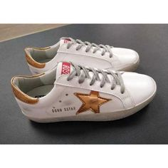 Chaussures Golden Goose Femme Superstar Sneakers GGDB Cuir Or Blanc