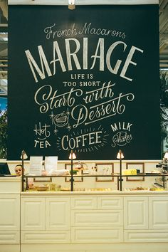 Chalk lettering mural for french style bakery
