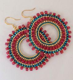 Items similar to Seed bead Earrings - Aqua Berries Multicolored Bohemian Beadwork Hoop Earrings on Etsy Brick Stitch Earrings, Seed Bead Earrings, Diy Earrings, Seed Beads, Hoop Earrings, Beaded Earrings Patterns, Beaded Jewelry, Aqua, Bead Crochet Patterns