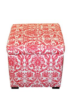 Sole Designs Tami Storage Ottoman with hinged top and upholstered Baroque design