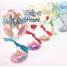 On 7 Plus Disney Bridesmaid Bride Wine Glass Personalized Snow White... ($15) ❤ liked on Polyvore featuring home, kitchen & dining, drinkware, drink & barware, home & living, silver, colored wine glass, personalized wine glasses, personalized beer mugs and wedding wine glasses