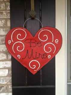 Be Mine Valentine Burlap Door Hanger by ILoveItDesigns on Etsy, $28.00