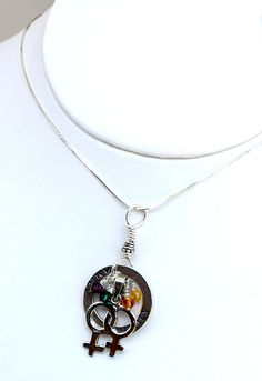 Celebrate diversity - female family pride necklace