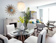 Modern, open concept condo dining and living room - LUX Design