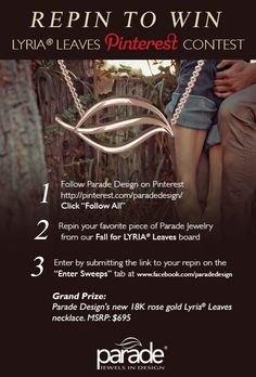 Fall is officially here & to celebrate, Parade is offering you a chance to WIN our new 18K rose gold LYRIA Leaves necklace in our REPIN TO WIN LYRIA LEAVES PINTEREST CONTEST! Re-pin your fave Parade Design Lyria Leaves jewelry from our Fall for LYRIA Leaves board + click through this image to submit your re-pin for a chance to win this rose gold necklace! #RepinToWin #LyriaLeaves #sweeps #giveaway #PinToWin #ParadeDesign #Win #Winit #jewelrygiveaway #FallFashion #Fall2013