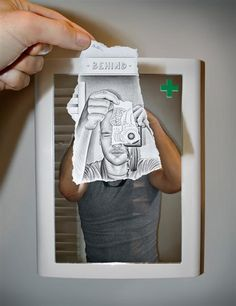 Ben Heine is very famous in the conceptual pencil art VS camera. He draws a sketch and takes the photo. The novelty of this talent is astonishing.  The rebirth of the scene is out of this world. The drawing on the paper is cartoonish and it stands out from the real world through its uncolored texture.