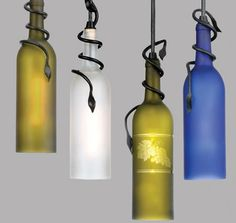 DIY: How to Cut Glass Bottles for Use in Other Projects (Glass wine bottle lights) Wine Bottle Corks, Lighted Wine Bottles, Bottle Lights, Wine Bottle Crafts, Glass Bottles, Bottle Lamps, Cut Bottles, Diy Bottle, Bottle Chandelier