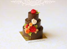Dollhouse Miniature Food - Three Tier Chocolate Wedding Cake-dollhouse miniature wedding cake