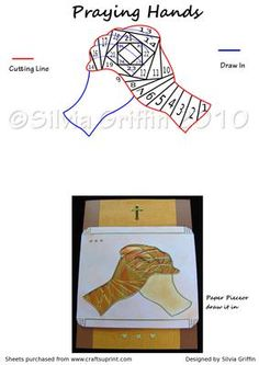 Praying Hands on Craftsuprint designed by Silvia Griffin - Sympathy card , encouragement may fit the bill for this pattern. Used peel offs to indicate the fingers.Draw or make a paper piece for on of the hands. - Now available for download!