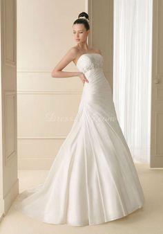 charming Pleated taffeta Floor-length A-line Wedding Dress - Dress2015.com
