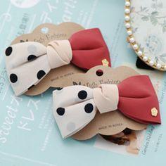 韩国进口 斑点双色蝴蝶结发夹 发饰头饰饰品