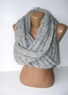 infinity Scarf crocheted gray cowlcircle scarfwarmfashion by seno, $50.00