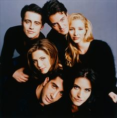 The Cast of FRINDS : Jennifer Aniston (Rachel Green),  Courteney Cox (Monica Geller),  Matthew Perry (Chandler Bing),  David Schwimmer (Ross Geller),  Lisa Kudrow (Phoebe Buffay) &  Matt LeBlanc (Joey Tribbian) - Friends ~  9/22/94 to 5/6/2004
