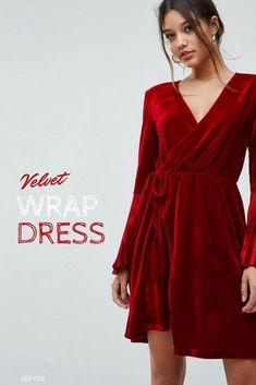 bf3861e7b23 Lovely Velvet Wrap Dress With Pleated Sleeves. It s simply beautiful. Love  the velvet look