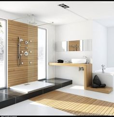 2013/02/modernes badezimmer natürliche materialien bambus holz glas duschkabine marcin pajak