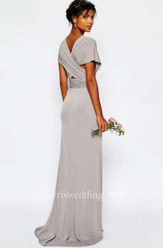 Sheath V-Neck Sash Floor-Length Short-Sleeve Chiffon Bridesm.- Sheath V-Neck Sash Floor-Length Short-Sleeve Chiffon Bridesmaid Dress Sheath V-Neck Sash Floor-Length Short-Sleeve Chiffon Bridesmaid Dress – UCenter Dress - Bridesmaid Dresses Online, Mob Dresses, Lace Bridesmaid Dresses, Dressy Dresses, Wedding Robe, Maxi Dress Wedding, Robes Glamour, Online Shop Kleidung, Brides