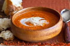 Roasted Tomato Soup Recipe | Steamy Kitchen Recipes - made it with a vidalia onion, 2.5 tomatoes, no jalapeno and no cheese or creme fraiche...