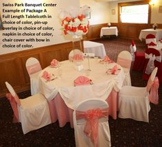 Swiss Park Banquet Center Package A. Deluxe linens in pin-up style, fan folded napkins and chair cover with a bow all in shades of ivory and coral. Beautiful fresh flower centerpiece in feathers and roses provided by Flowers by Lorena, Chino CA Wedding Inspiration, Wedding Ideas, Napkin Folding, Champagne Color, Pin Up Style, Chair Covers, Flower Centerpieces, Fresh Flowers, Banquet