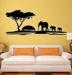 Vinyl Decal Wall Stickers Elephant African Animals Landscape Tree Mural Unique Gift from Saved to Things I want as gifts. Wall Stickers Elephant, Wall Stickers Birds, Animal Wall Decals, Vinyl Wall Decals, Creative Wall Painting, Wall Painting Decor, Wall Drawing, African Animals, New Wall