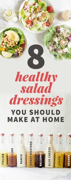 8 healthy salad dressing recipes you should make at home - ☆ SALAD R . - 8 healthy salad dressing recipes you should make at home – ☆ SALAD RECIPES ☆ – - Healthy Salad Recipes, Healthy Snacks, Healthy Eating, Healthy Salad Dressings, Healthy Dressing For Salads, Healthy Ranch Dressing, Homemade Salad Dressings, Clean Eating Salads, Vegetarian Salad