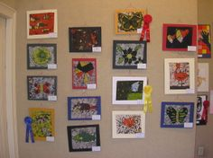 Artwork by youth attending school in Atchison, Kansas. These are wonderful examples of wax resist on fabric, or Batiq